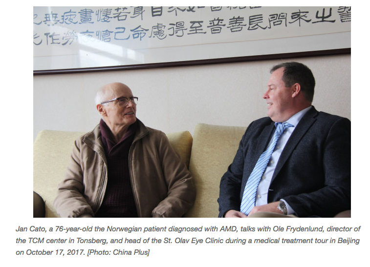 Article in ChinaPlus about our work and visit to China with norwegian eyepatients.