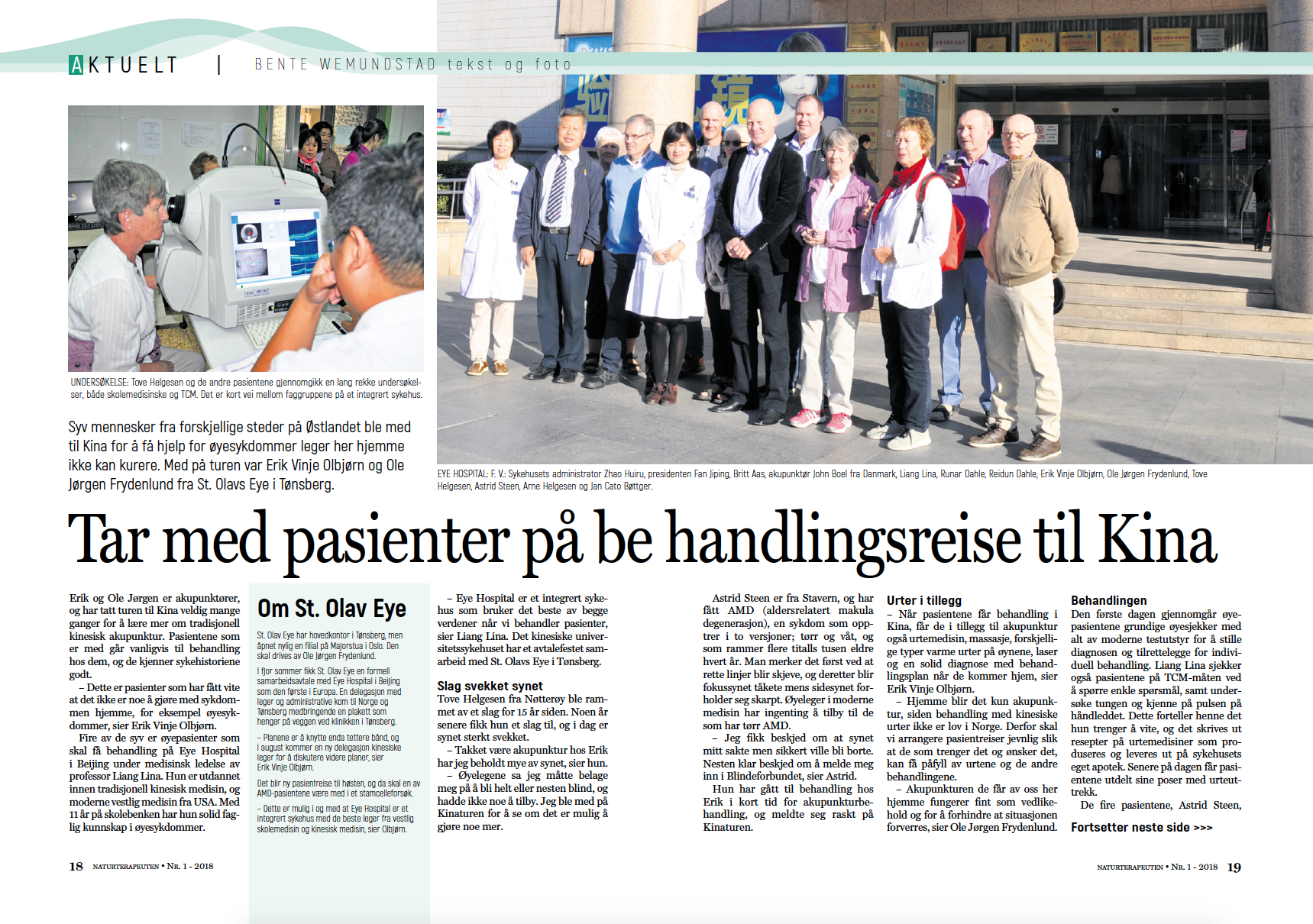Naturterapeuten: Article on treatment trip to China